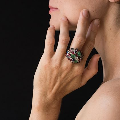 1960s-french-ruby-sapphire-engraved-emerald-diamond-gold-ring