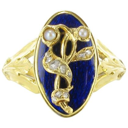 french-napoleon-iii-blue-enamel-natural-pearl-diamond-antique-ring