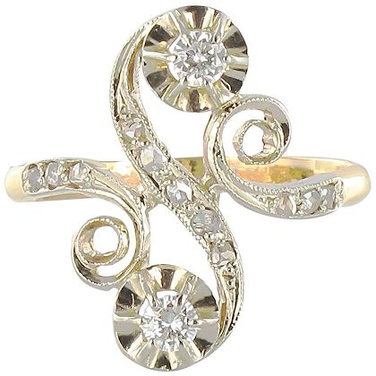 1900s-french-art-nouveau-antique-diamond-two-gold-s-shaped-ring