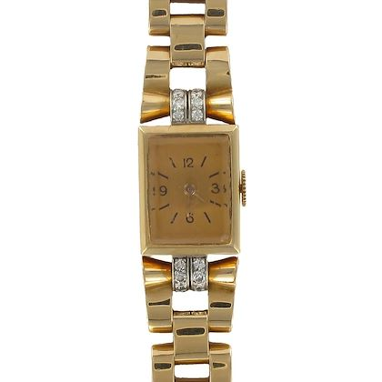french-ladies-yellow-gold-diamond-retro-mechanical-wristwatch-1940s
