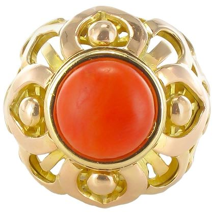 french-vintage-1980s-mediterranean-coral-gold-dome-ring