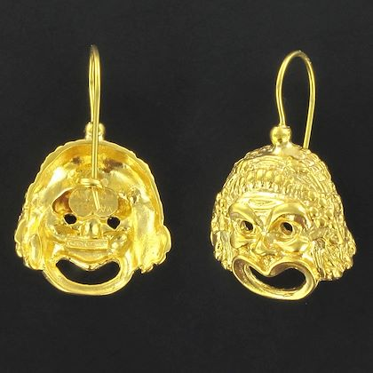 italian-vermeil-grimacing-mask-drop-earrings