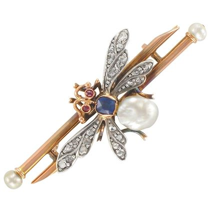 19th-century-french-natural-pearl-sapphire-diamond-ruby-insect-brooch