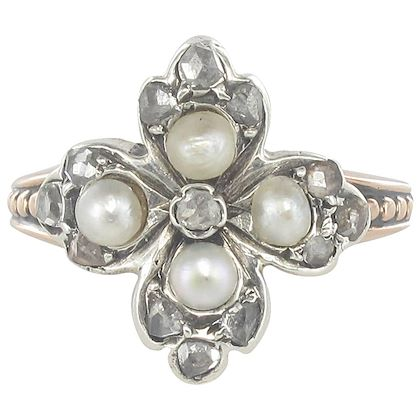 19th-century-antique-clover-shape-natural-pearl-diamonds-ring