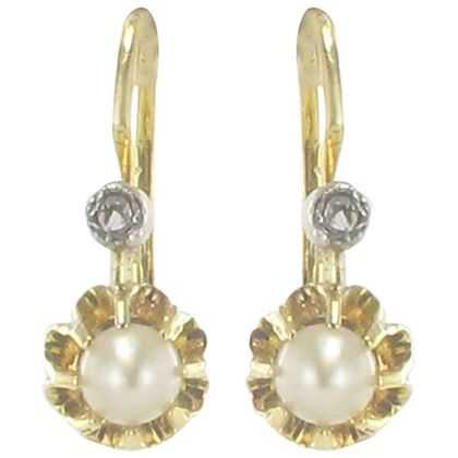 french-1900s-antique-cultured-pearl-diamonds-yellow-gold-drop-earrings