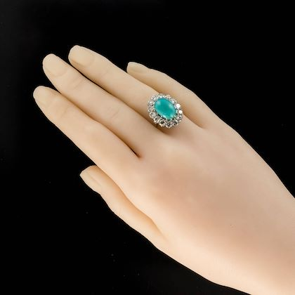 french-1960s-cabochon-turquoise-diamond-white-gold-platinum-cluster-ring