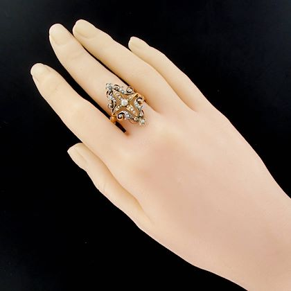 french-napoleon-iii-natural-pearl-siver-rose-gold-ring