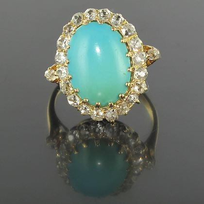 antique-turquoise-cabochon-diamond-gold-ring