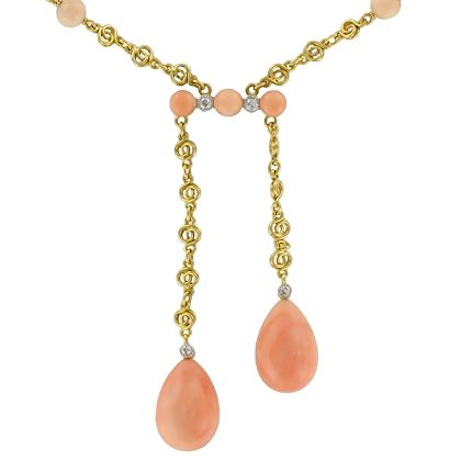 french-belle-époque-coral-angel-skin-diamond-yellow-gold-negligé-necklace