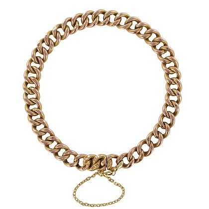 french-1900s-rose-gold-chiseled-chain-bracelet