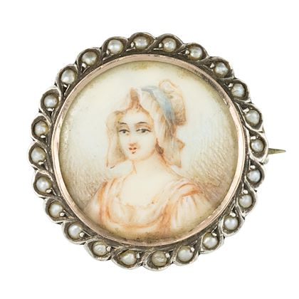 19th-century-miniature-and-pearls-on-silver-brooch