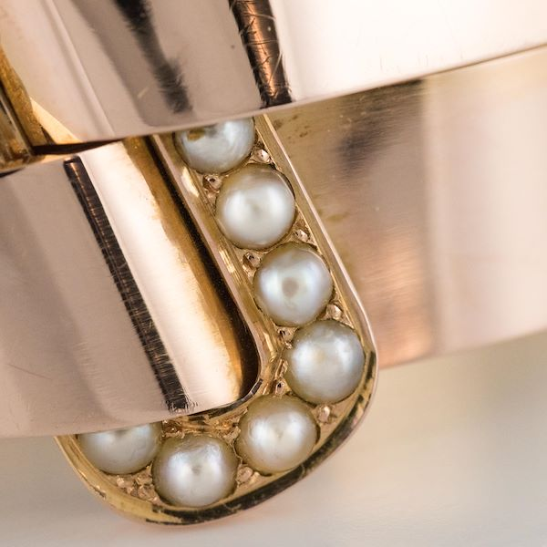 french-napoleon-iii-natural-pearl-and-rose-gold-belt-bangle-bracelet