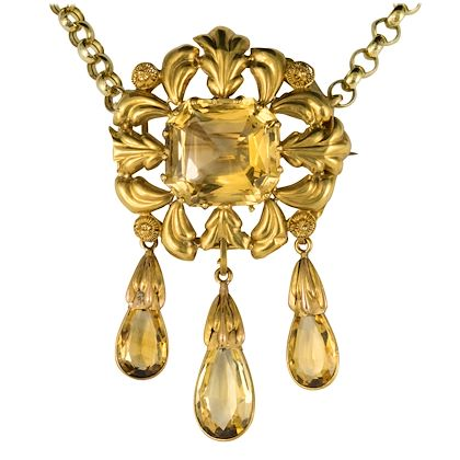 french-antique-romantic-citrine-gold-brooch-pendant