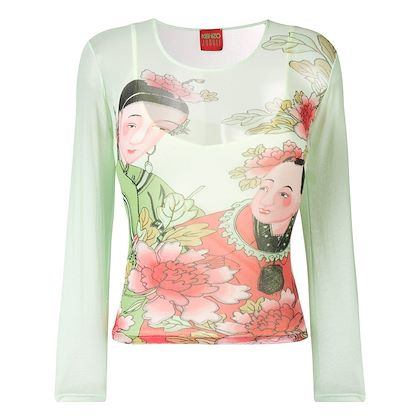 KENZO JUNGLE japanese print sheer blouse