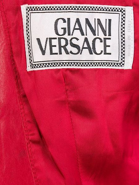 Picture of 1990s GIANNI VERSACE panelled leather collarless jacket