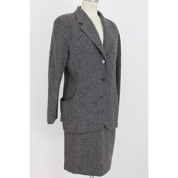 Genny By Gianni Versace Skirt Suit Jacket Wool Vintage Gray