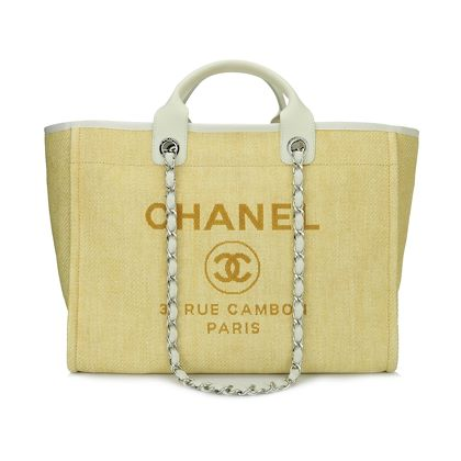 chanel-deauville-tote-large-yellow-canvas-silver-hardware-2014