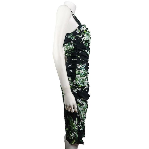 dolce-gabanna-floral-dress-black-green-white-pattern-38-us-0-pre-owned-used