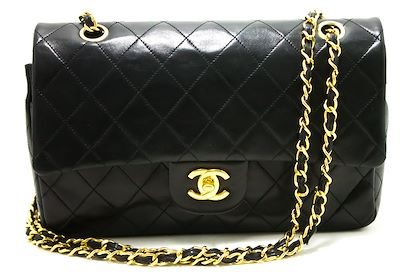 chanel-255-double-flap-10-chain-shoulder-bag-black-quilted-lamb-27