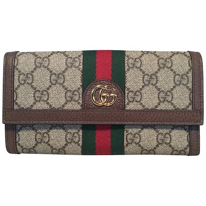 gucci-monogram-brown-leather-and-striped-canvas-wallet