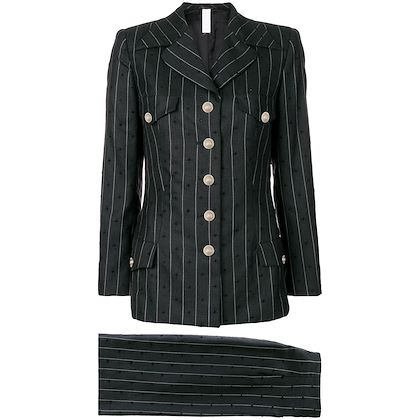 Picture of GIANNI VERSACE pinstripe pontelle skirt suit