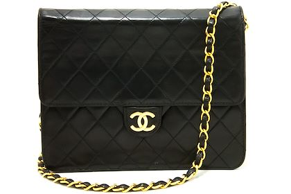 chanel-small-chain-shoulder-bag-black-clutch-flap-quilted-lambskin-12