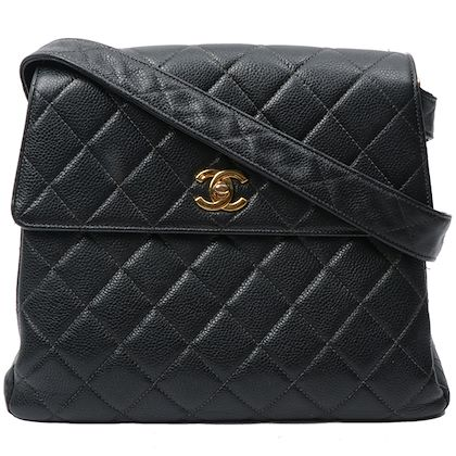 chanel-caviar-leather-turn-lock-plate-shoulder-bag-black
