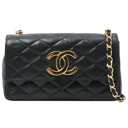 chanel-designed-flap-cc-mark-plate-chain-bag-black