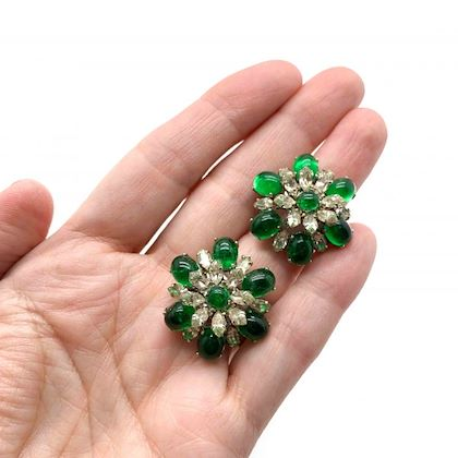 vintage-christian-dior-faux-emerald-diamond-floral-clip-earrings-1968