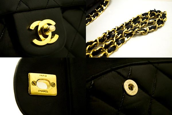 chanel-255-double-flap-10-chain-shoulder-bag-black-quilted-lamb-28
