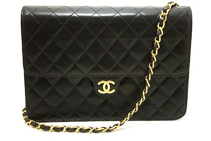 chanel-chain-shoulder-bag-black-clutch-flap-quilted-lambskin-23