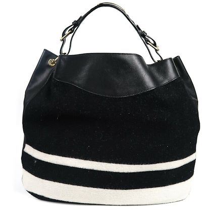 ralph-lauren-xl-wool-leather-black-hobo-tote-bag-white-stripes-new