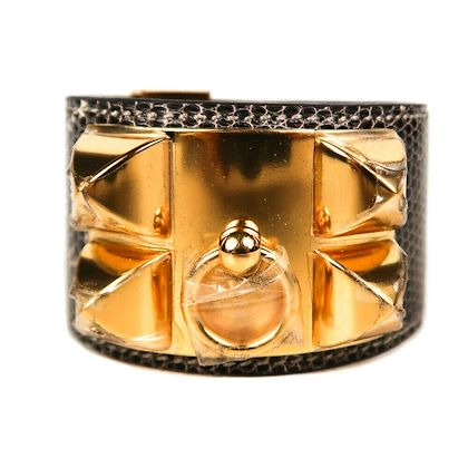 hermes-snakeskin-brown-cdc-bracelet-gold-pyramid-studs-leather-pre-owned-used