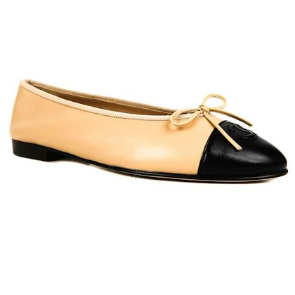 chanel-ballet-shoes-tan-beige-black-ballerina-flats-bow-395-95-new