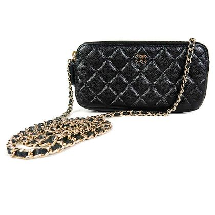 chanel-2018-caviar-wallet-on-a-chain-black-quilted-leather-cc-crossbody-bag-gold-pre-owned-used