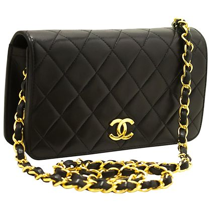 chanel-small-chain-shoulder-bag-black-clutch-flap-quilted-lambskin-14