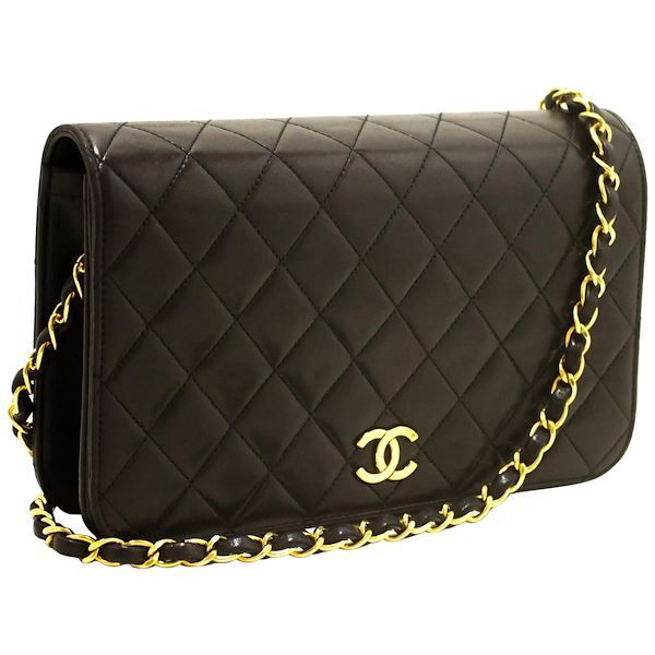 6a17953531 Chanel Chain Shoulder Bag Black Clutch Flap Quilted Lambskin