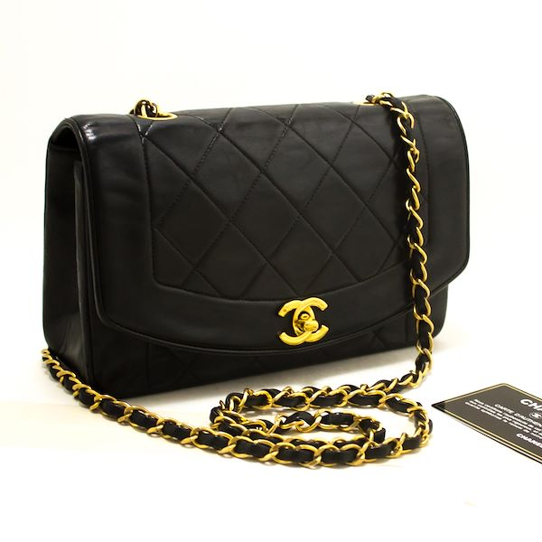 ae597692845 Chanel Diana Chain Flap Shoulder Crossbody Bag Black Quilted Lamb