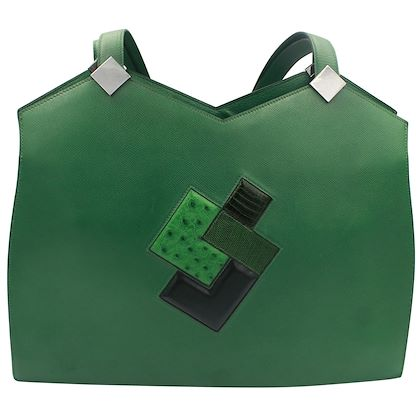 hermes-rare-green-courchevel-and-leather-patchwork-shoulder-bag