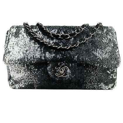 chanel-sequin-ombre-medium-crossbody-flap-bag-cc-silver-turnlock-black-leather-pre-owned-used