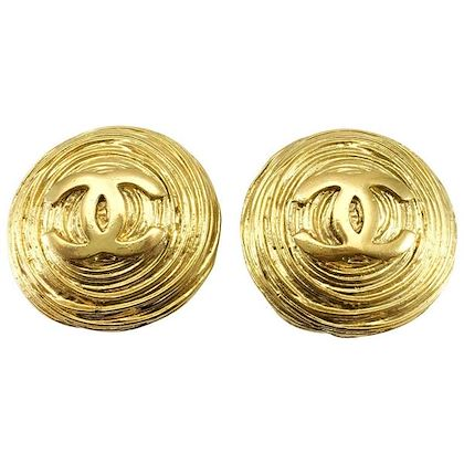 chanel-large-gold-plated-texturised-round-logo-earrings-1988