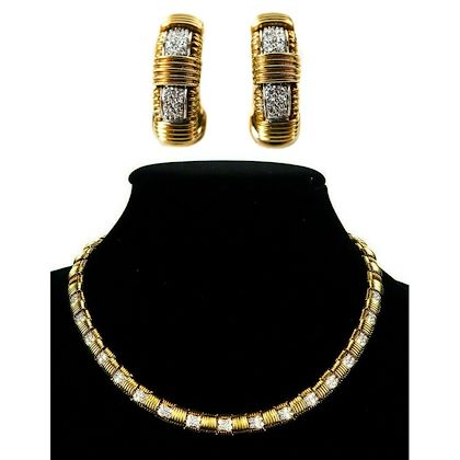 roberto-coin-appassionata-diamond-necklace-earrings-set-18k-gold-pre-owned-used