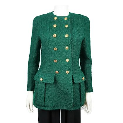b6a9f739d4d910 ... chanel-rare-vintage-green-jacket-tweed-double-breasted-
