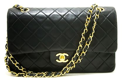 chanel-255-double-flap-10-chain-shoulder-bag-black-quilted-lamb-29