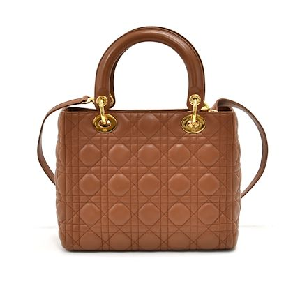 vinate-christian-dior-lady-dior-medium-brown-quilted-cannage-leather-handbag-strap