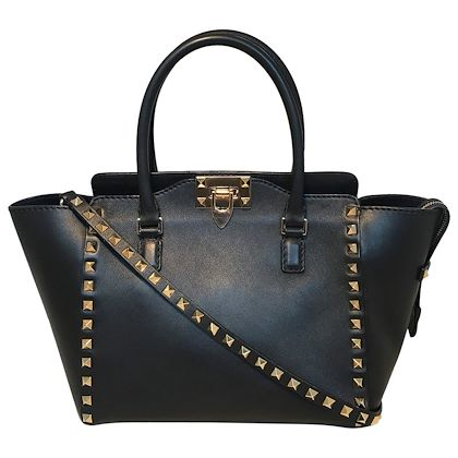 valentino-black-and-gold-double-handle-small-rockstud-trapeze-tote-bag