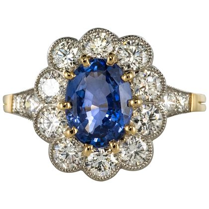 french-sapphire-diamond-18-karat-yellow-gold-platinum-cluster-ring