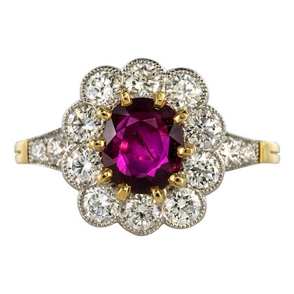 french-ruby-diamond-18-karat-yellow-gold-platinum-daisy-ring