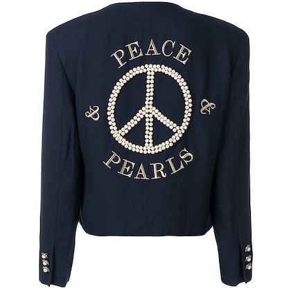 MOSCHINO peace embroidered jacket