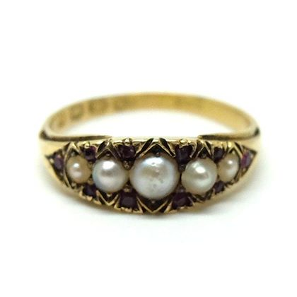 art-deco-ruby-pearl-18ct-gold-ring